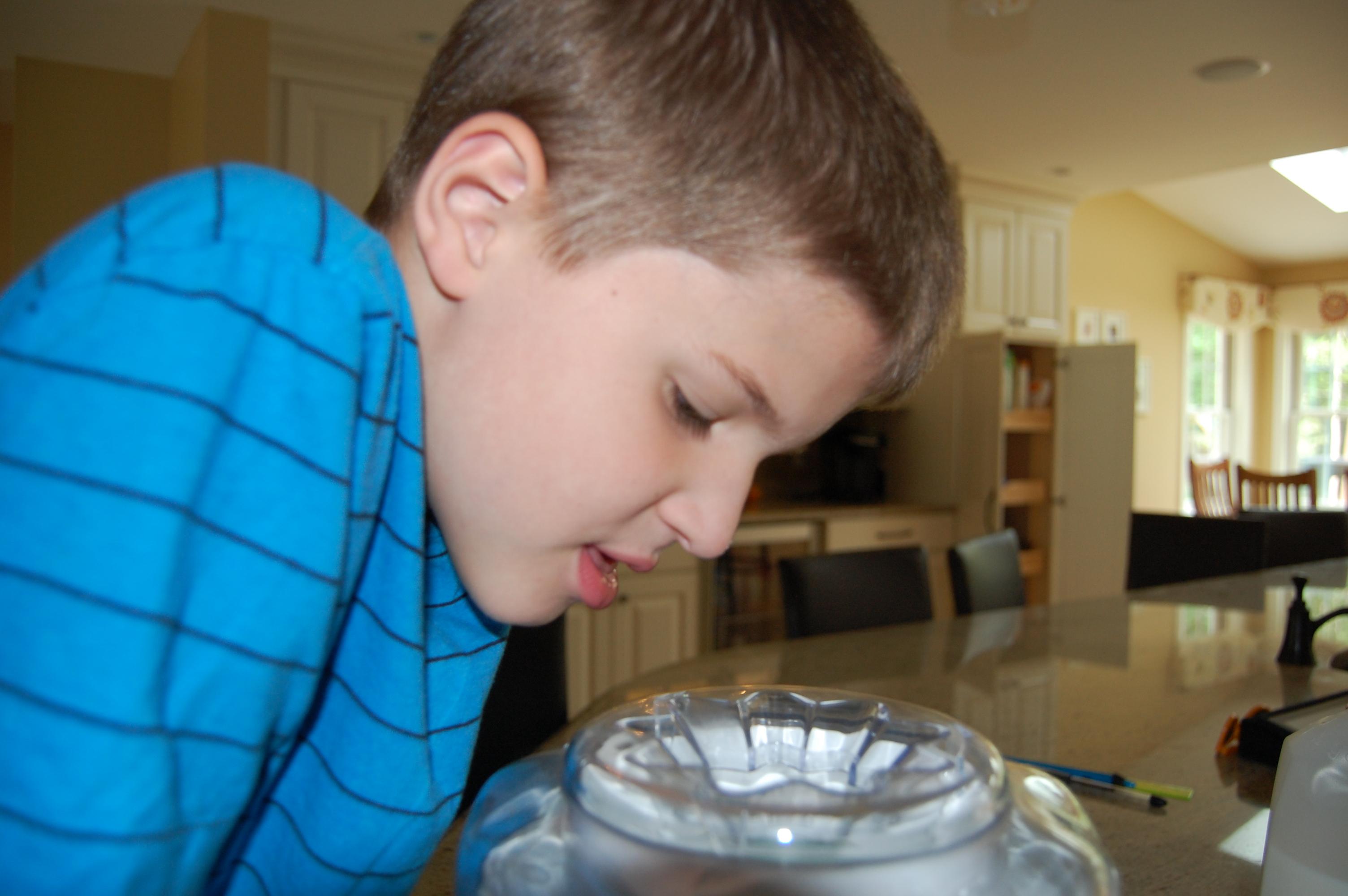 Jack helping make his favorite ice cream.