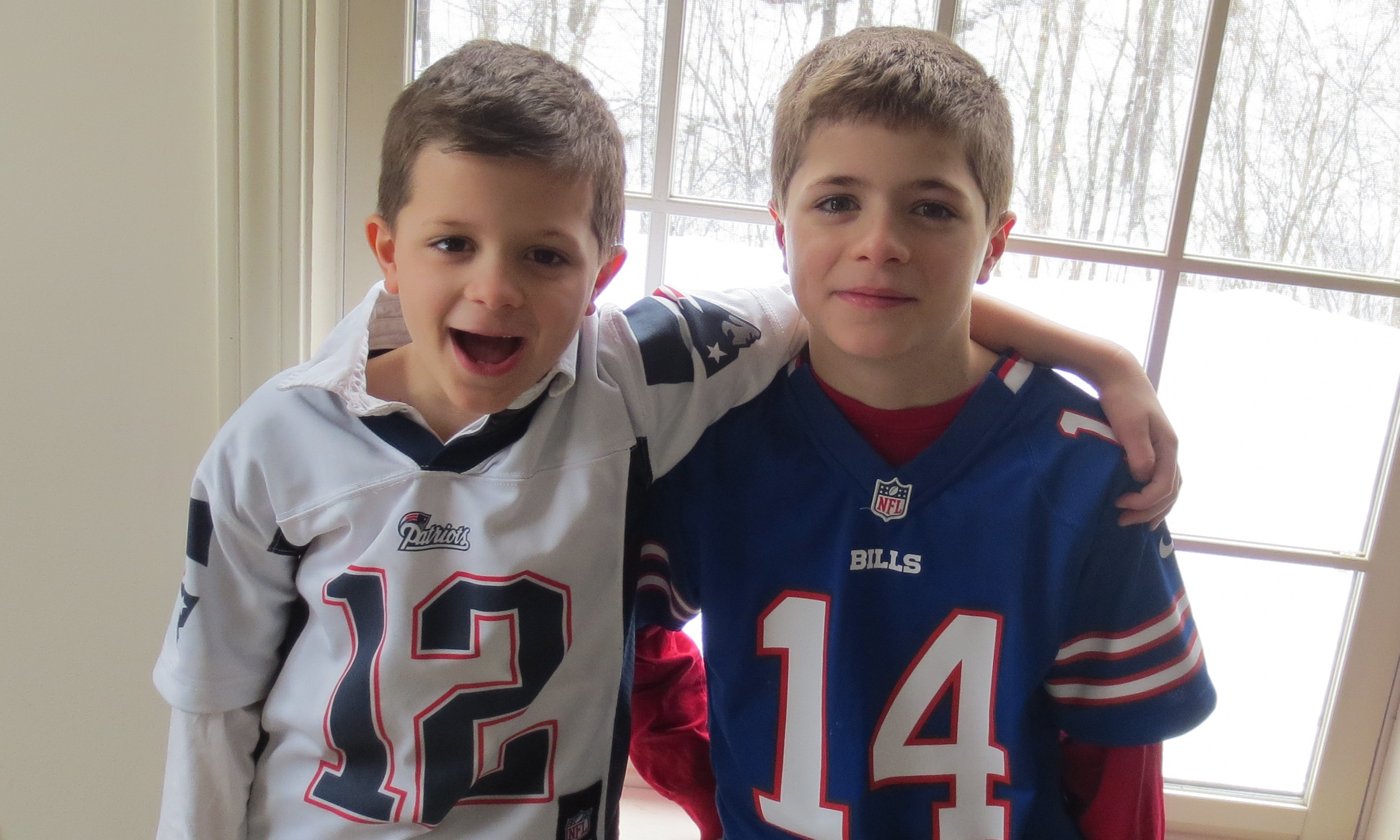 Charlie & Joey in their football jerseys