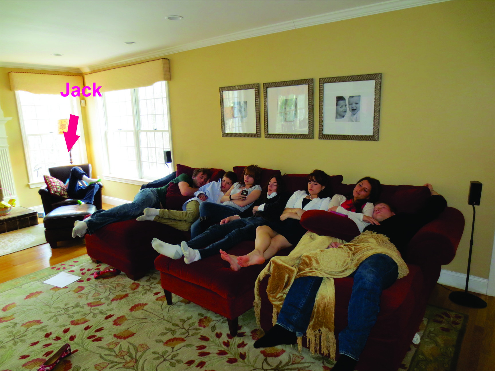 Cousins dozing on the couch