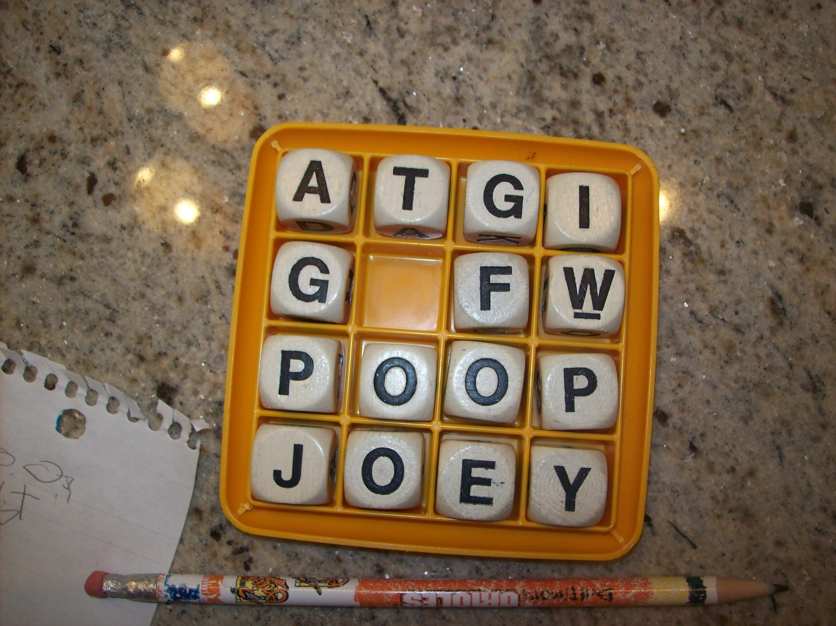 Never play Boggle with three boys.