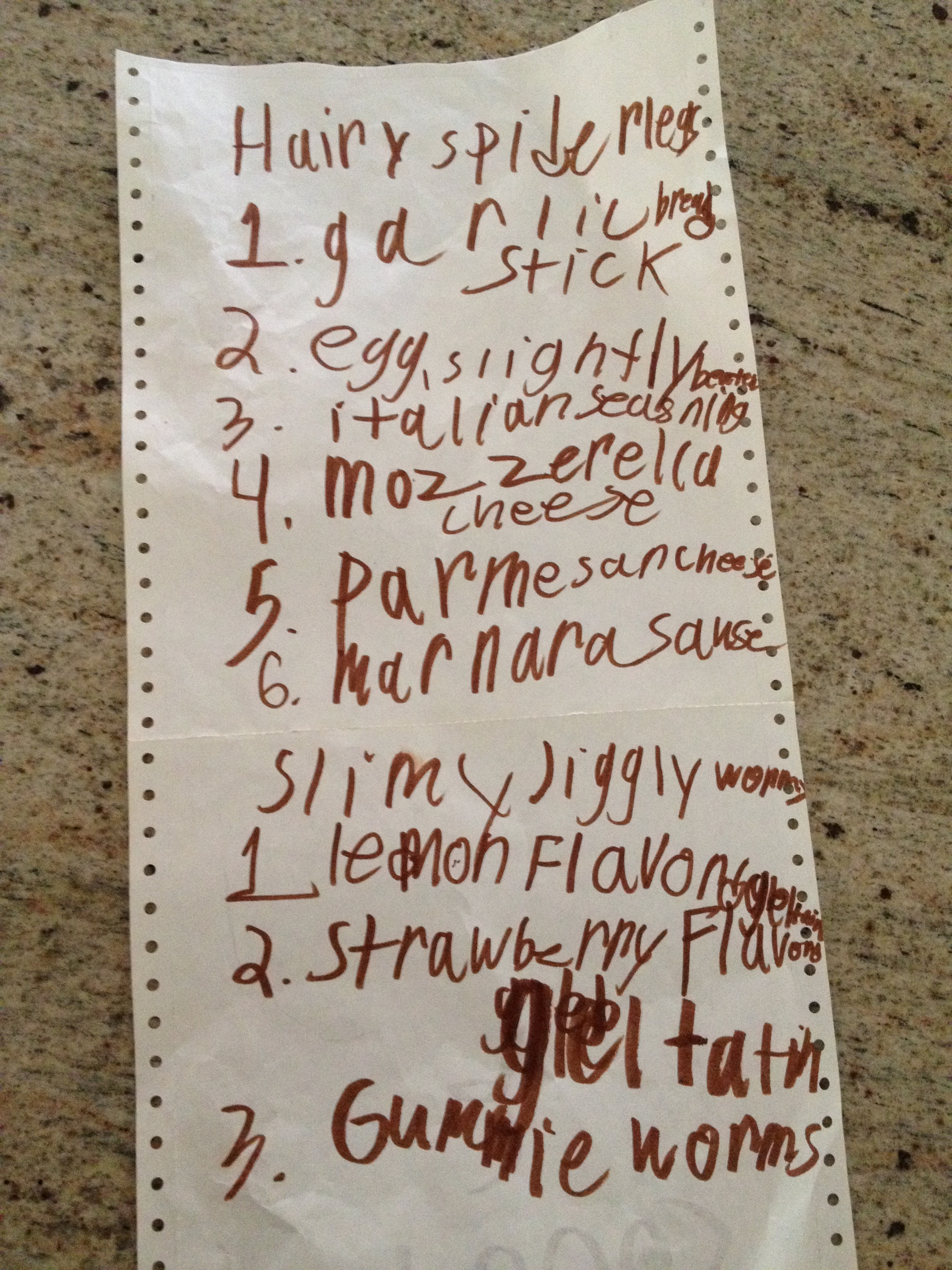 One of Jack's many party lists.