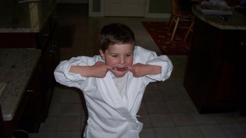 Trying to get Jack to karate