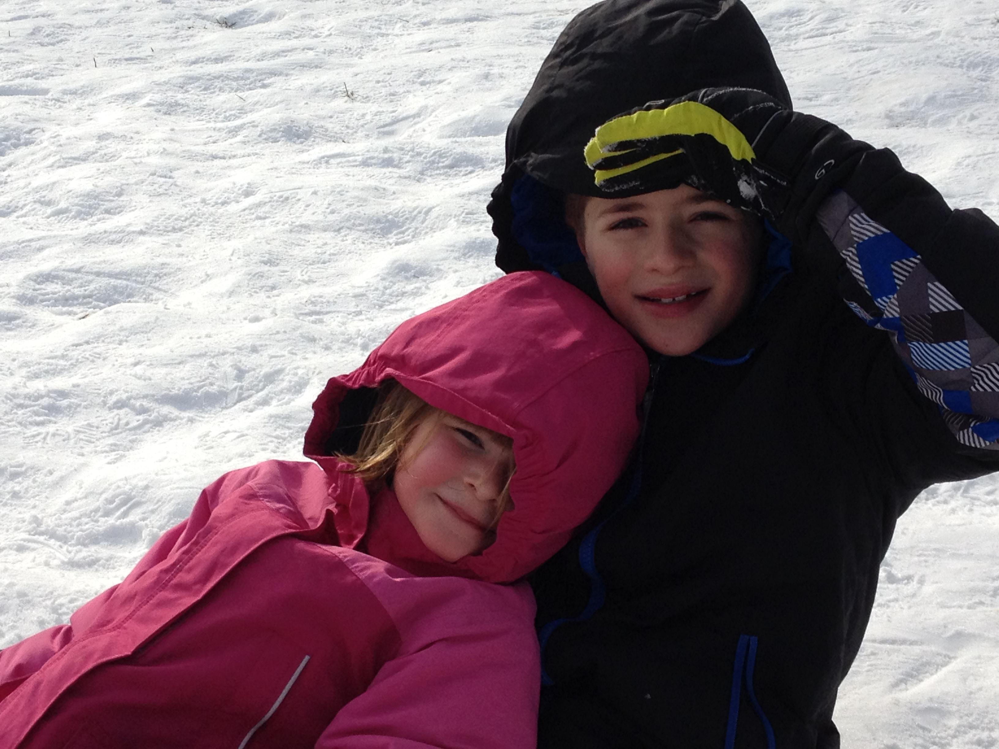 Joey and Rose sledding