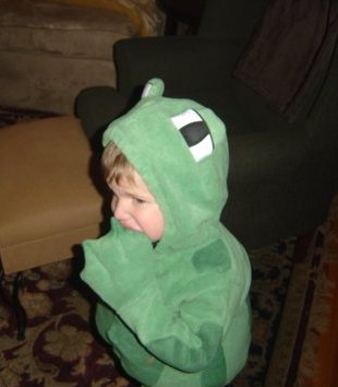An upset frog