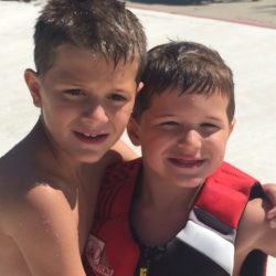 Charlie and Henry by the wave pool.