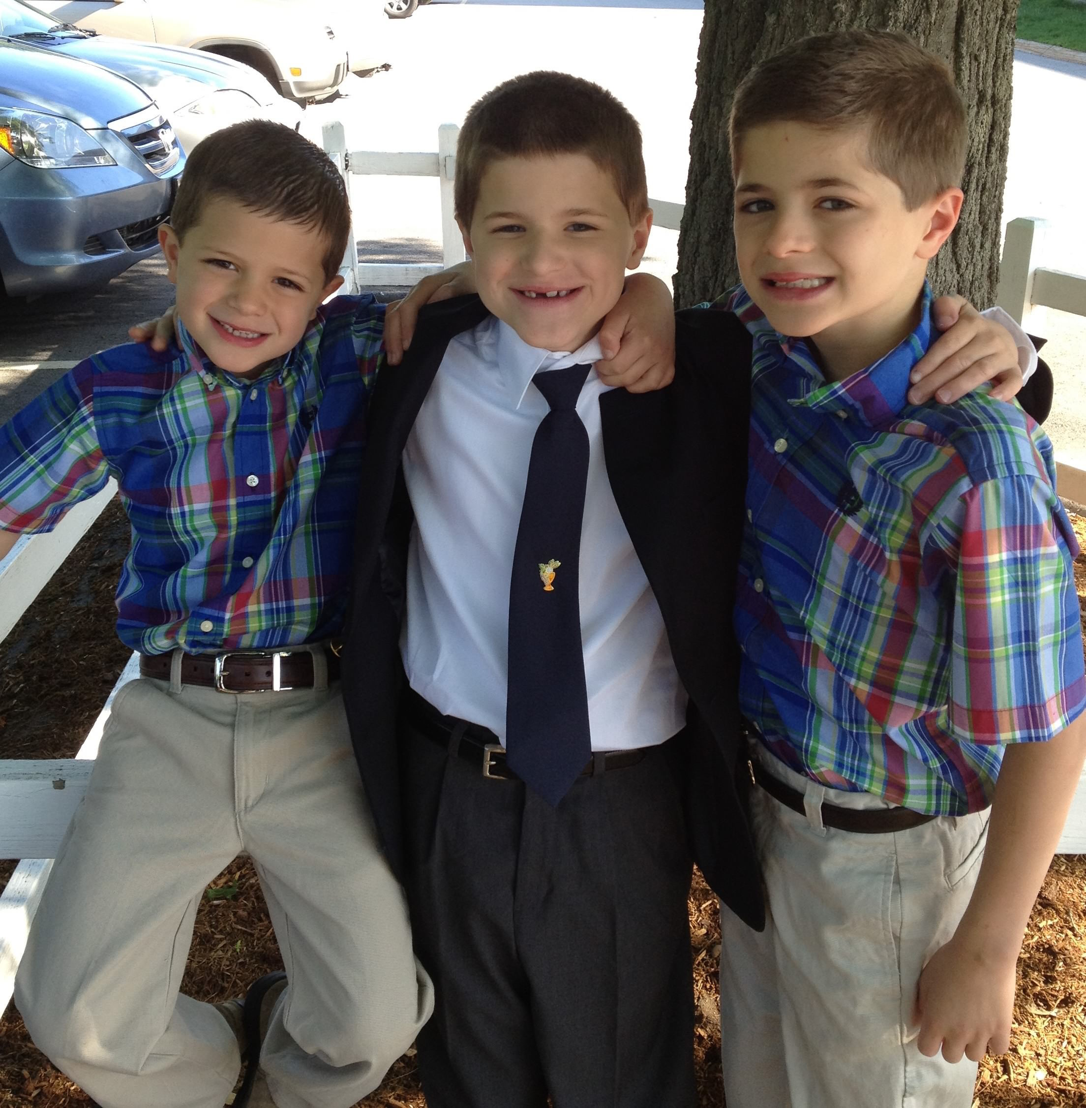 Jack and his brothers at his First Communion
